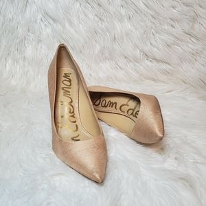 Hazel champagne fabric pointed toe pumps size 8.5